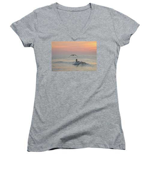 Seagull And A Surfer Women's V-Neck