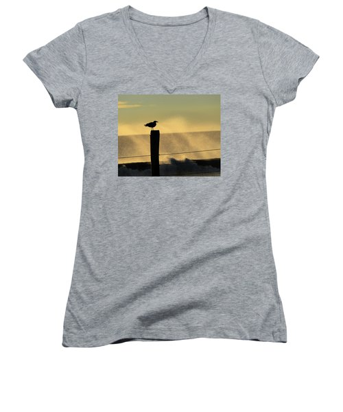Seagull Silhouette On A Piling Women's V-Neck