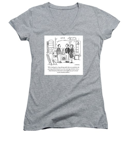 Search For A Long Dining Table Women's V-Neck