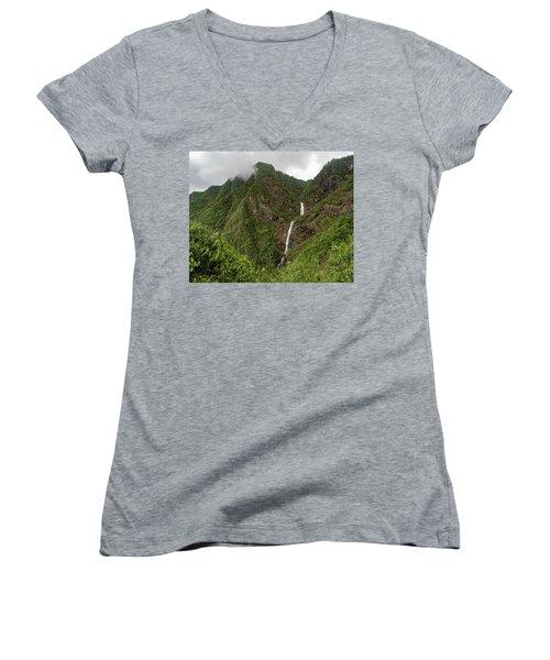 Shenlong Waterfall 8x10 Horizontal Women's V-Neck