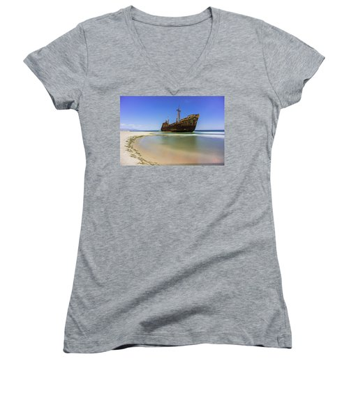 Shipwreck Dimitros Near Gythio, Greece Women's V-Neck