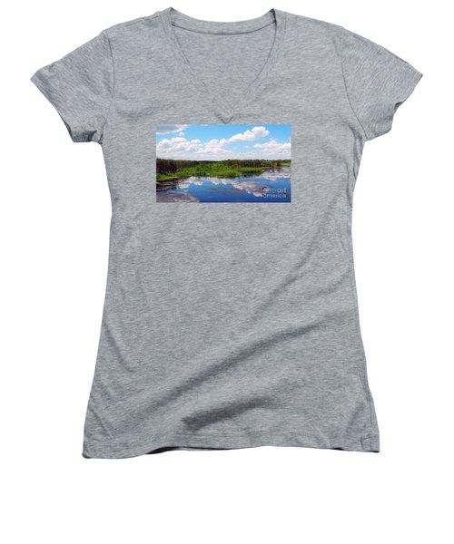 Skyscape Reflections Blue Cypress Marsh Near Vero Beach Florida C6 Women's V-Neck (Athletic Fit)
