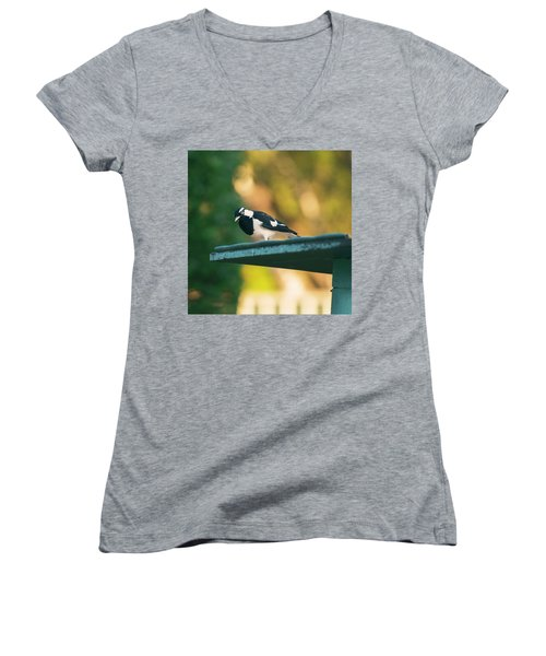 Small Magpie Lark Outside In The Afternoon Women's V-Neck