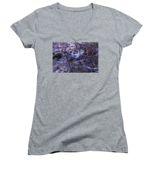 Snowy Forest With Long Exposure Women's V-Neck