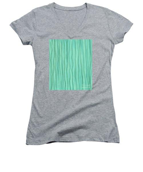 Soft Green Lines Women's V-Neck