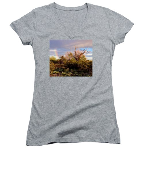 Sonoran Desert Spring Rainbow Women's V-Neck
