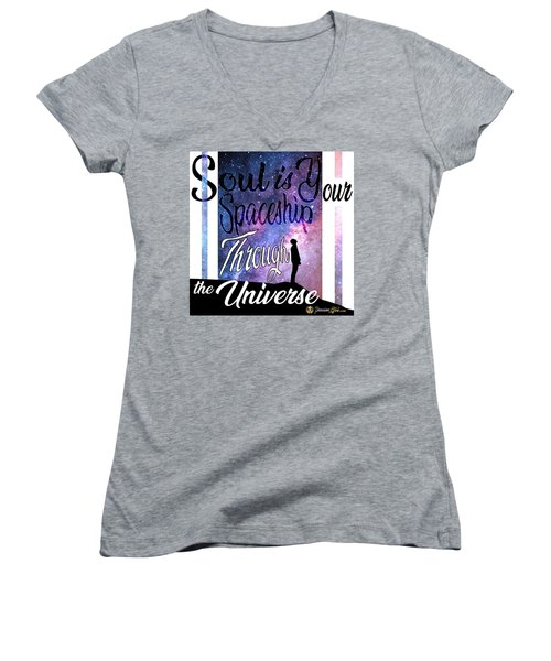 Women's V-Neck featuring the mixed media Soul Is Your Spaceship by Passion Give