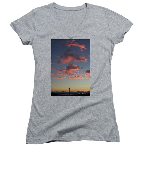 Space Needle And Pink Clouds Women's V-Neck