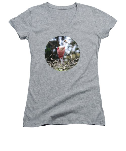 Spoonbill On Branches Women's V-Neck