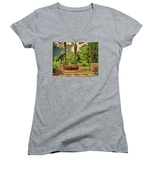 Women's V-Neck featuring the photograph Statues Gardens,achilleion Palace Corfu by Leigh Kemp