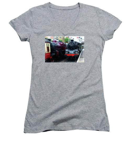 Steam Trains Women's V-Neck