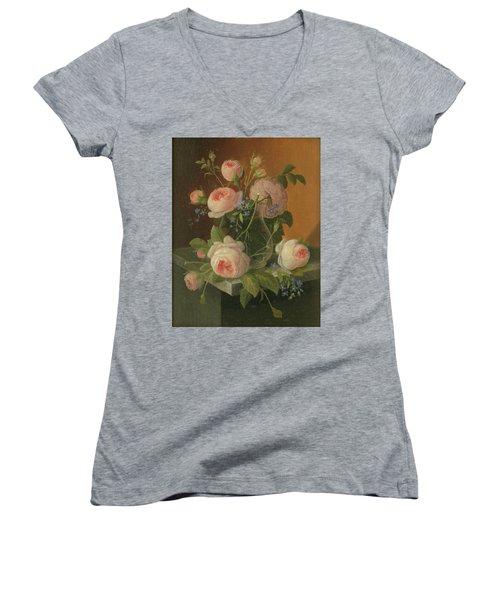 Still Life With Roses, Circa 1860 Women's V-Neck