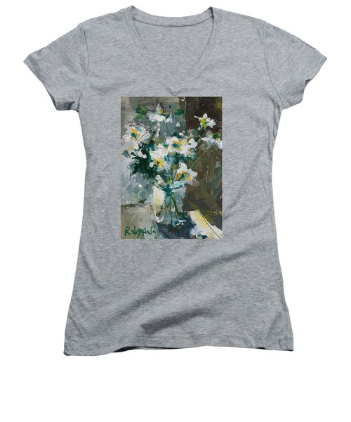 Still Life With White Anemones Women's V-Neck (Athletic Fit)