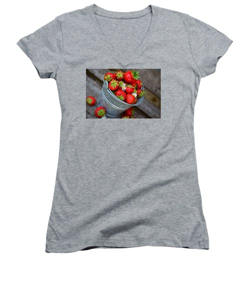 Strawberries And Daisies Women's V-Neck