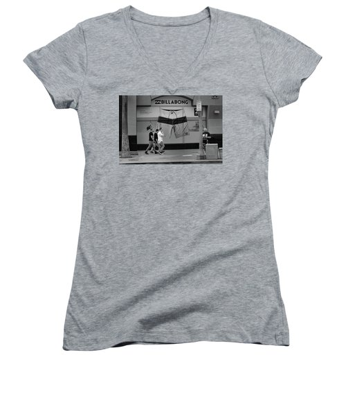 Women's V-Neck featuring the photograph Strolling Hollywood by Ron Cline