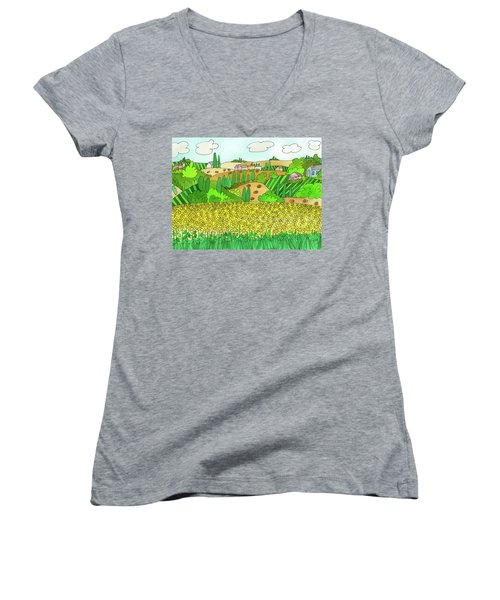 Sunflower French Countryside Women's V-Neck (Athletic Fit)