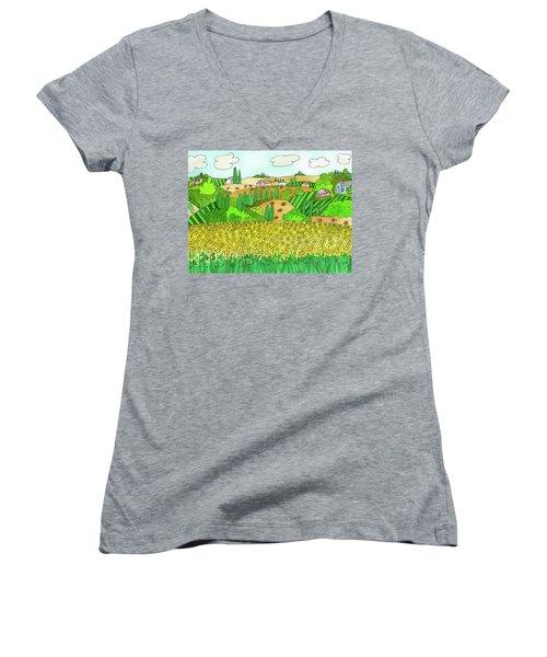 Sunflower French Countryside Women's V-Neck
