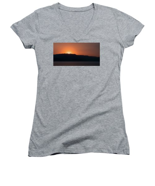 Sunset At Over The Mountains In The Red Sea Women's V-Neck