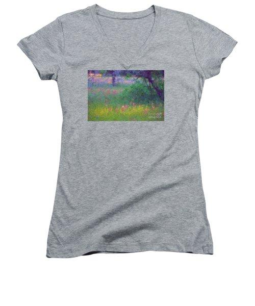 Sunset In Flower Meadow Women's V-Neck