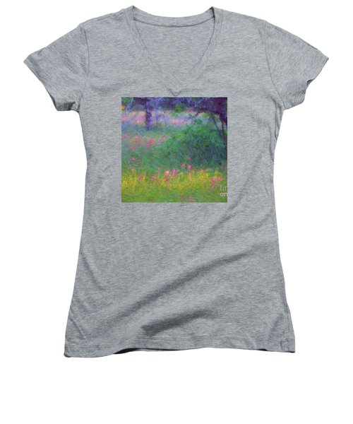 Sunset In Flower Meadow Women's V-Neck