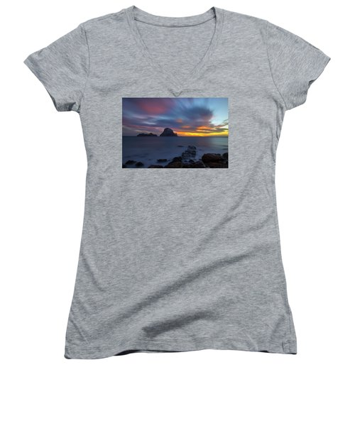 Sunset In The Mediterranean Sea With The Island Of Es Vedra Women's V-Neck