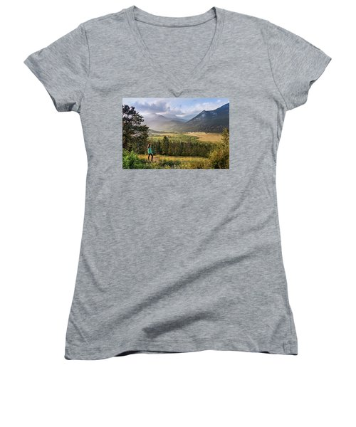 Sunset In The Rockies Women's V-Neck
