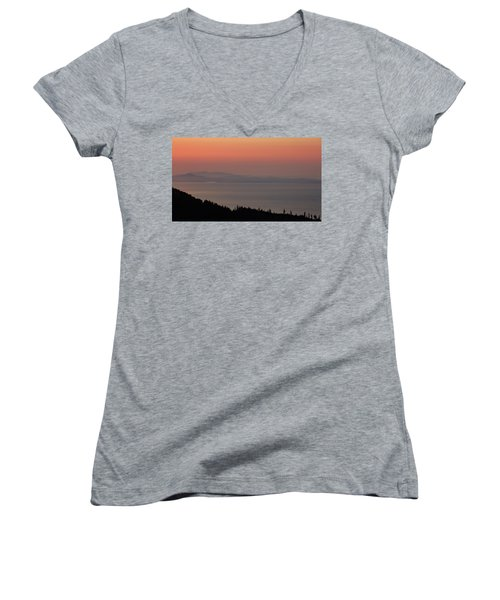 Sunset Of The Olympic Mountains Women's V-Neck