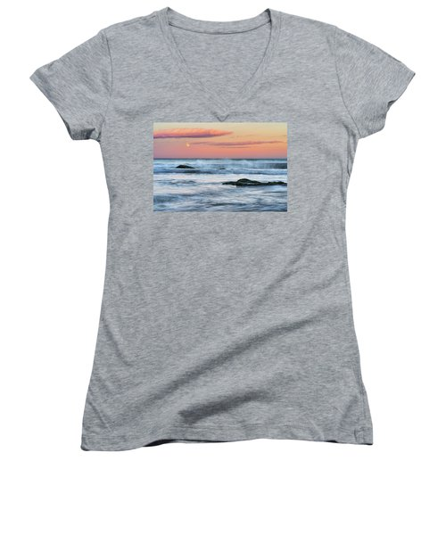 Super Moon And Sunset At Sozopol Town Beach Women's V-Neck
