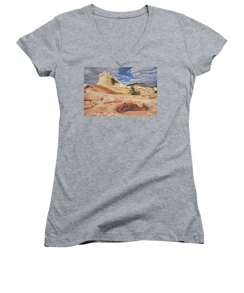Sweeping Structures In Sandstone Women's V-Neck