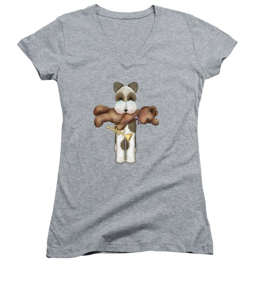 T Is For Terrier And Teddy Women's V-Neck