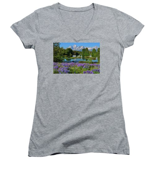 Tetons And Lupines Women's V-Neck