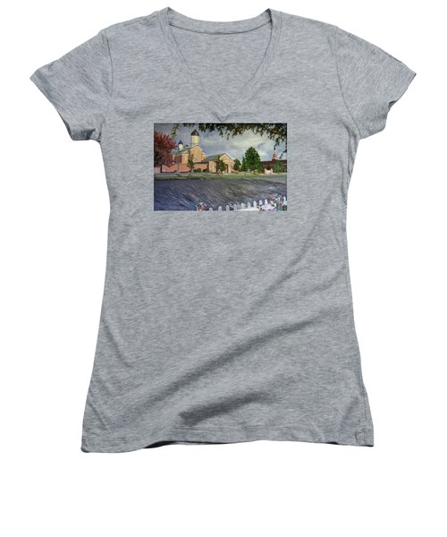 Thank Thee For The Church And The Temple  Vernal Utah Temple Women's V-Neck