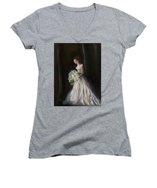 Women's V-Neck featuring the painting The Big Day by Fe Jones