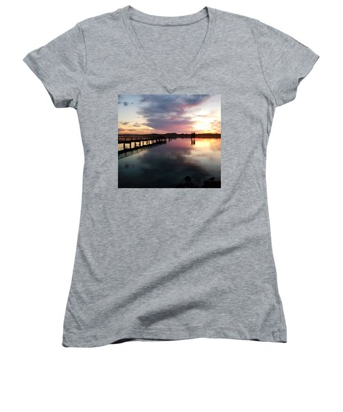 The Hollering Place Pier At Sunset Women's V-Neck