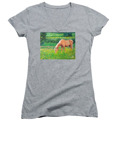 The Palomino And Buttercup Meadow Women's V-Neck