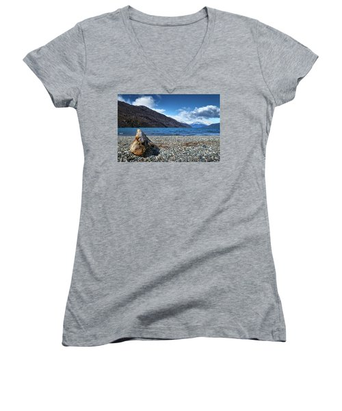 Women's V-Neck featuring the photograph The Trunk, The Lake And The Mountainous Landscape by Eduardo Jose Accorinti