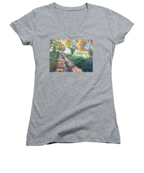 The Tunnel In Autumn Women's V-Neck