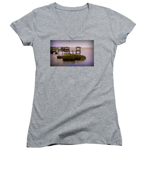 The Waterfront At Duck  Women's V-Neck