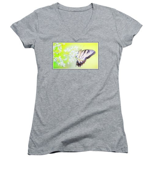 Tiger Swallowtail Butterfly On Privet Flowers Women's V-Neck