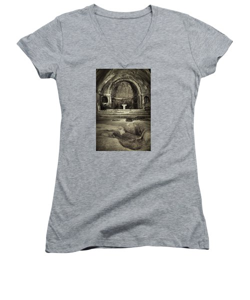 Women's V-Neck featuring the photograph Tomb And Altar In The Monastery Of San Pedro De Rocas by Eduardo Jose Accorinti