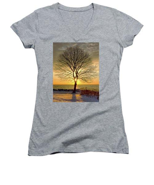 Tree Framed Sunrise New Hampshire Women's V-Neck