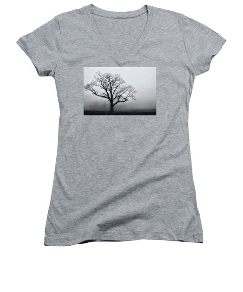Trees In Fog # 2 Women's V-Neck