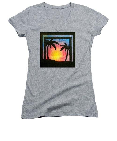 Tropical Sunset Women's V-Neck