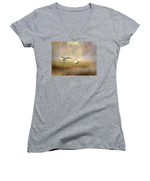 Trumpeter Swan Landing - Painterly Women's V-Neck