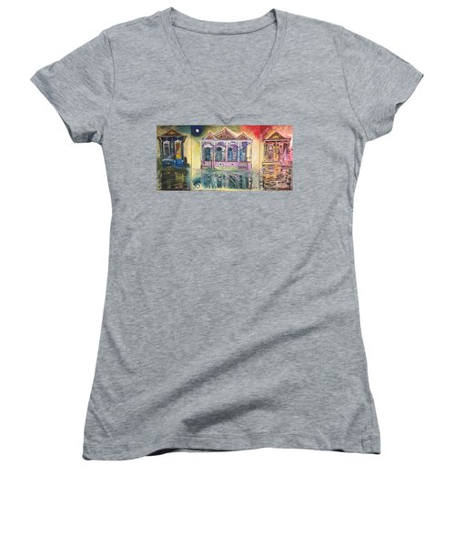 Tryptic On The Bayou New Orleans Women's V-Neck