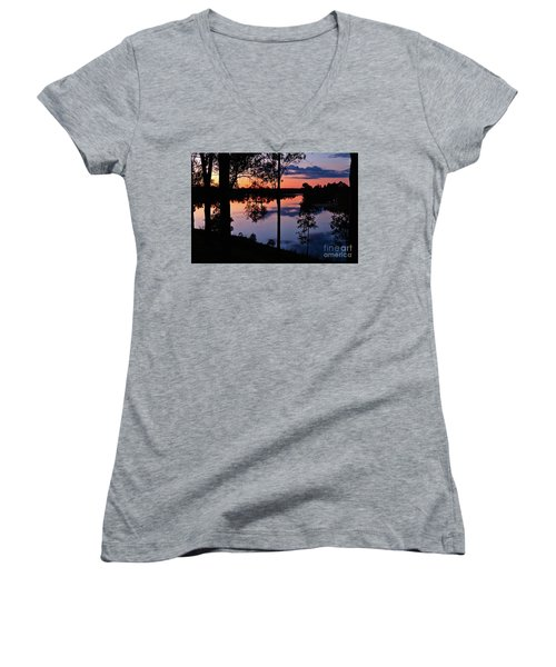 Twilight By The Lake Women's V-Neck
