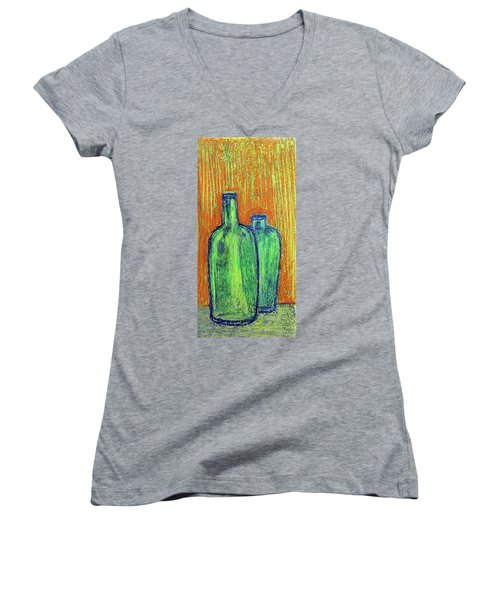 Women's V-Neck featuring the painting Two Green Bottles by Asha Sudhaker Shenoy