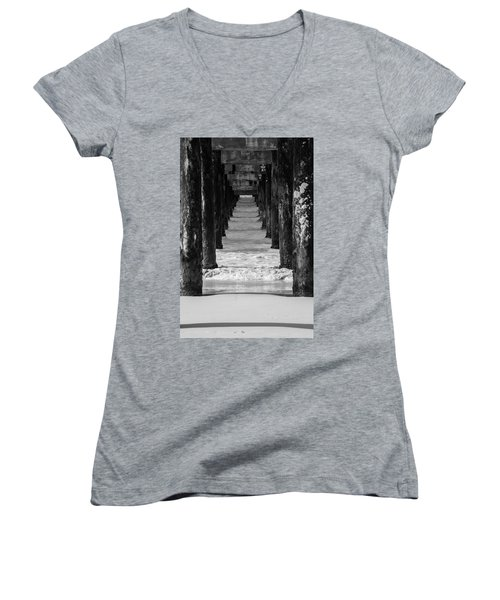 Under The Pier #2 Bw Women's V-Neck