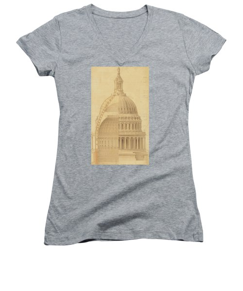 United States Capitol, Section Of Dome, 1855 Women's V-Neck