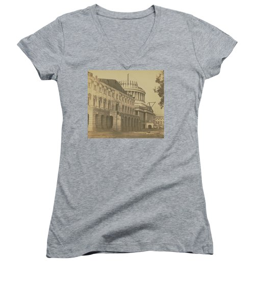 United States Capitol Under Construction Women's V-Neck